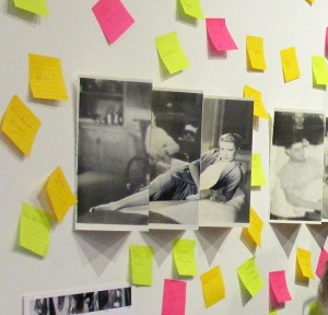 Installation view with post it notes honouring women that have influenced the lives of the audience